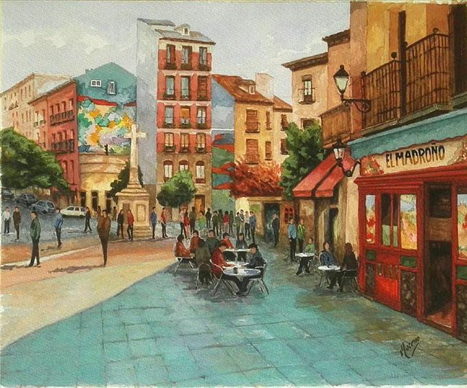 la-latina-madridacuarela40x50